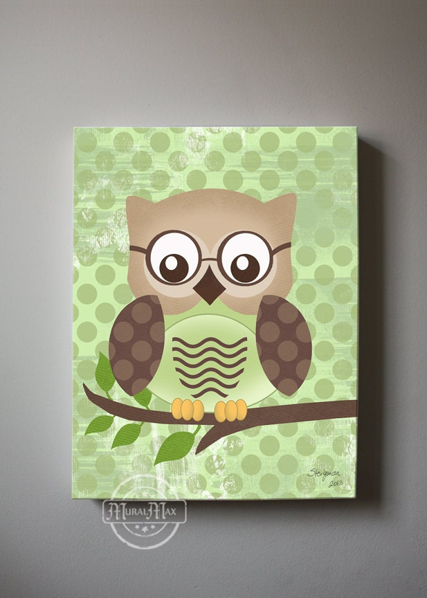 Owl Decor Boys Wall Art OWL Canvas Art Baby Nursery Owl 12x16