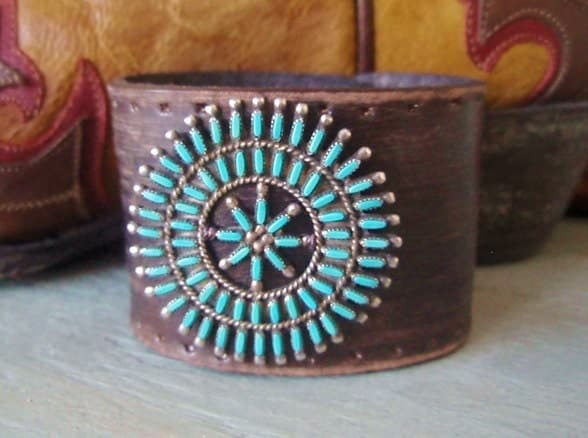 Vintage zuni turquoise repurposed leather belt cuff by Repurposed leather belts