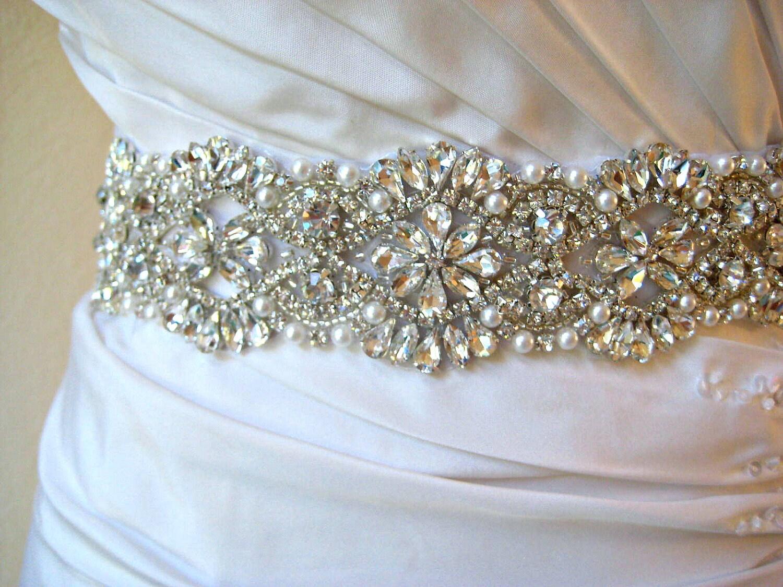 Bridal beaded swarovski crystal & pearl luxury sash.  DUCHESS