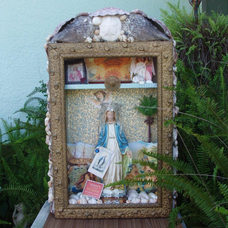 Vintage Virgin Mary Mermaid Shrine Religious By