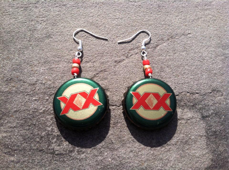 neat beer bottle top earrings bottle cap beaded earrings dos equis earrings double x earrings. Black Bedroom Furniture Sets. Home Design Ideas