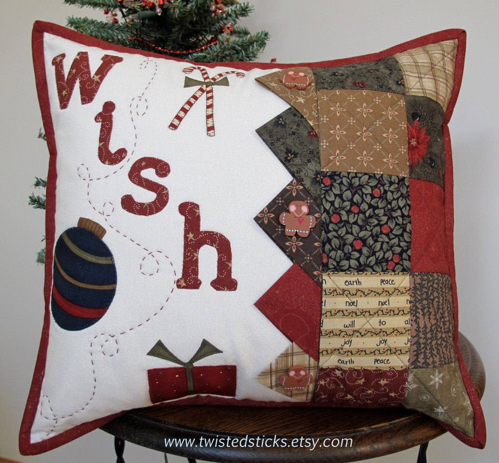 Decorative Christmas Pillows Throws : Holiday Throw Pillow Decorative Pillow throw by twistedsticks