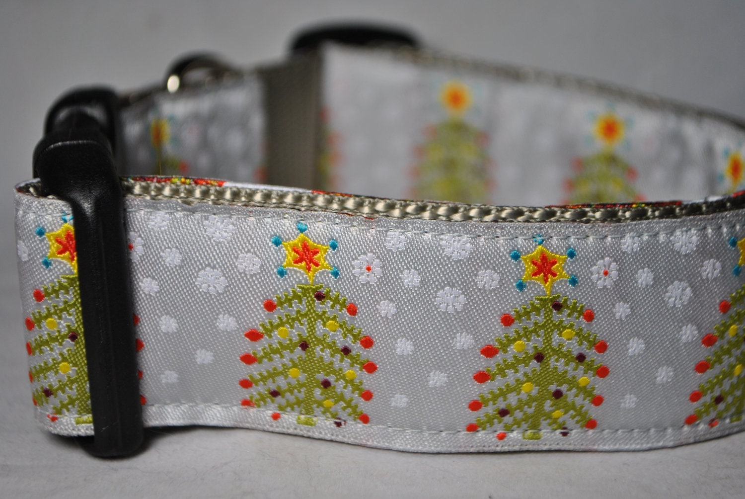"Christmas Trees - Adjustable 1 1/2"" Wide Dog Collar - Limited Availability"