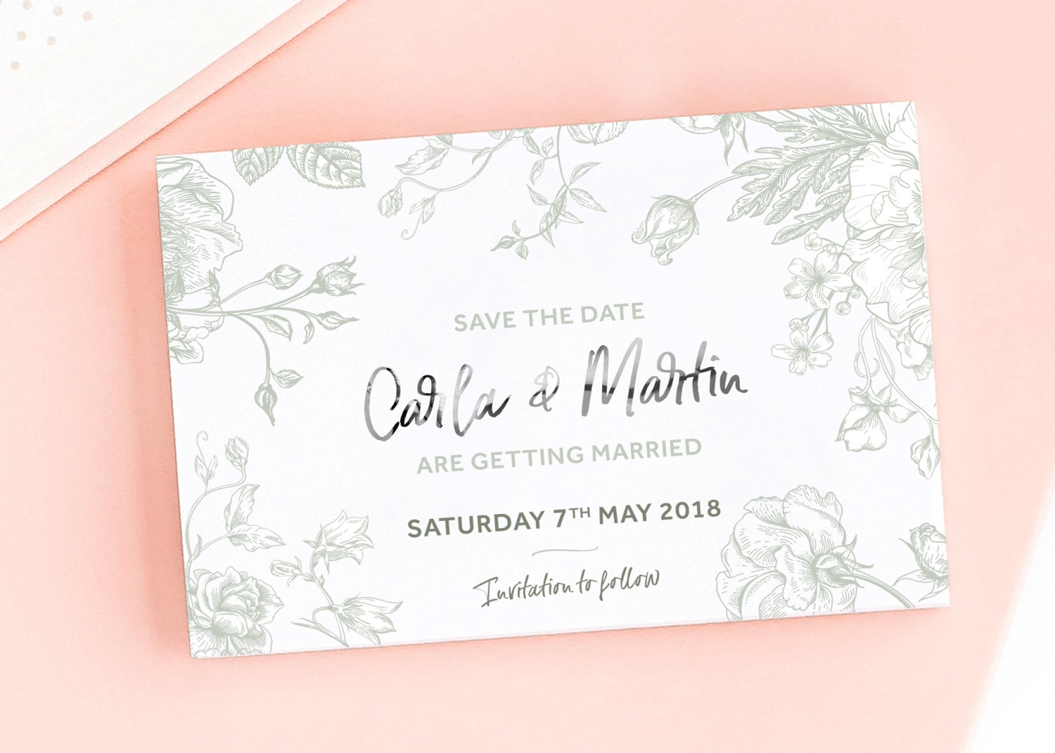 Fabulous Flowers Save the DateWedding Announcement Cards