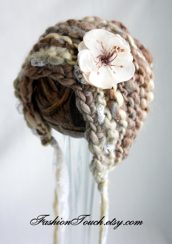 Knit Baby Bonnet, Newborn Baby Girl Hat, Baby Hat, Knit Baby Hat in Handspun Beige Yarn