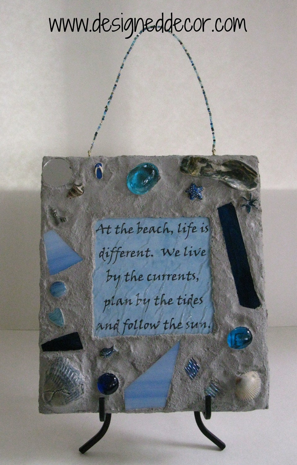 Wall Decor Mosaic Beach Quote Plaque by DesignedDecor on Etsy