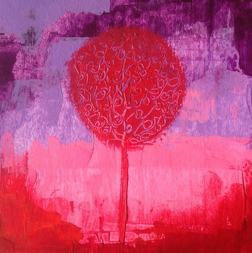 Popular items for tree painting art on etsy - Decorative trees with red leaves amazing contrasts ...