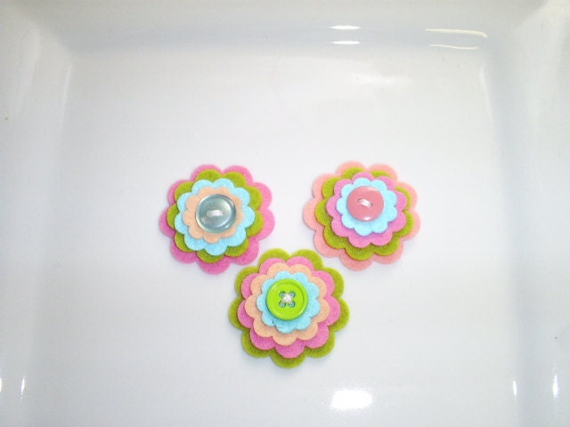 Wool Felt Flowers -  Set of 3  - Coral PInk, Sweet Pea, Bright PInk and Aqua Layered Flowers With Buttons