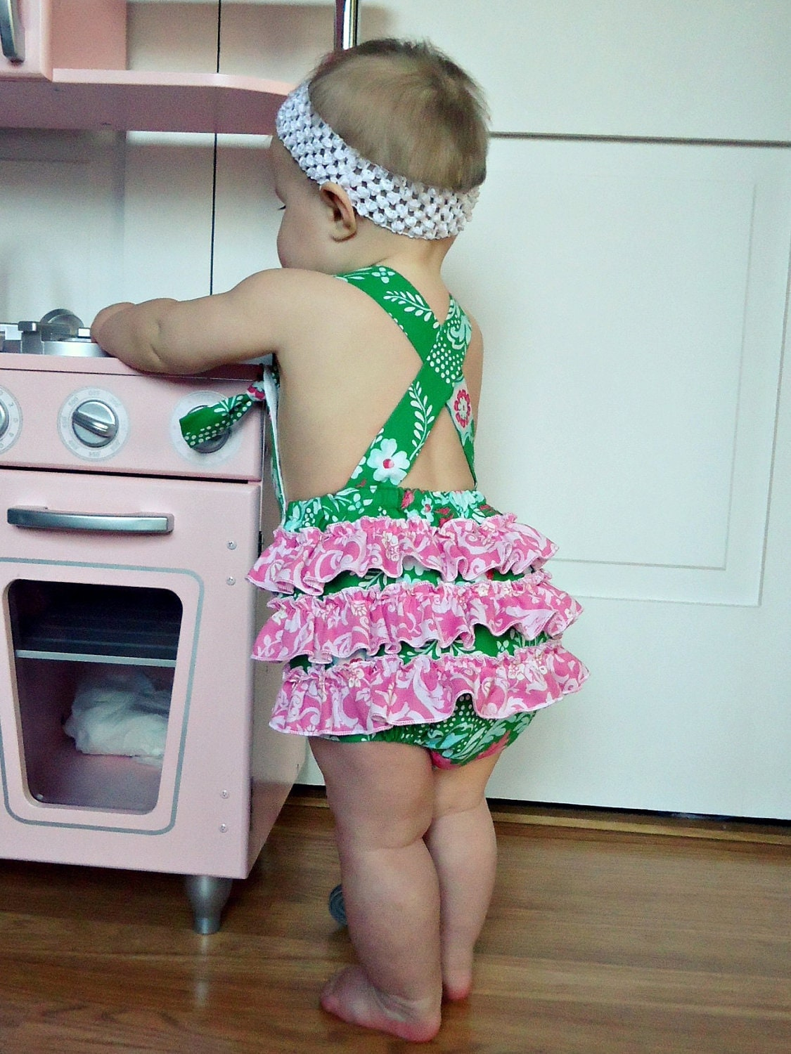 The Collyns Sunsuit -  Retro Knot Ruffled Sunsuit Romper for girls green pink Easter Spring Summer
