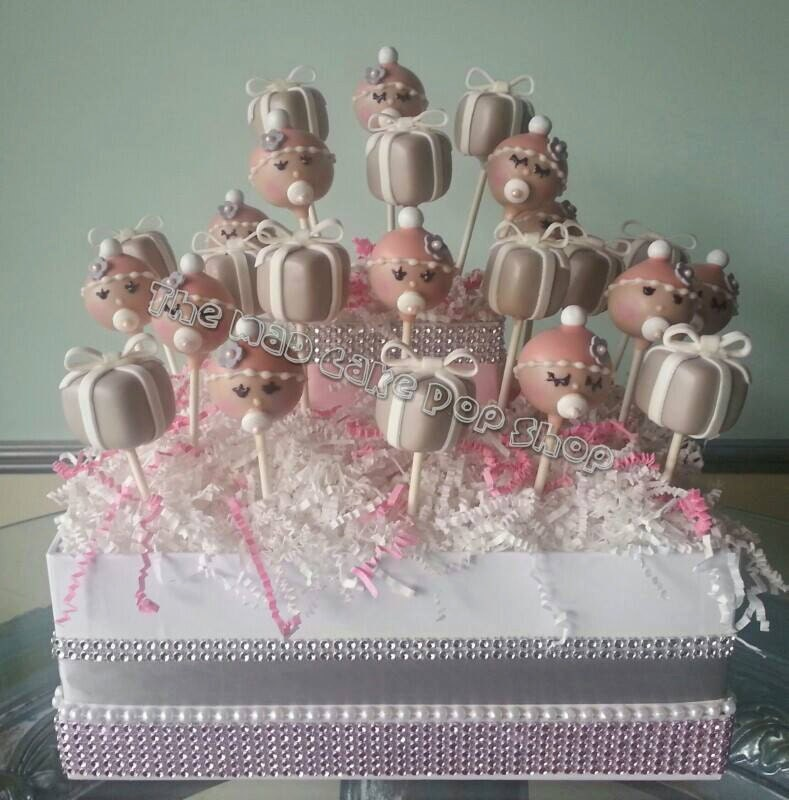 Display Baby Shower: Pink Tiffany Baby Shower Cake Pops 24 Pops By