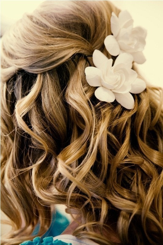 Ready to Ship- The Original Gardenia Hair Flower for Weddings as seen in Southern Weddings  Magazine in Ivory with Alligator Clip - dkdesignshawaii