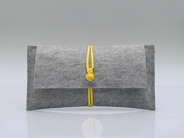 purse in gray felt and yellow paracord rope handmade in italy - FMLdesign