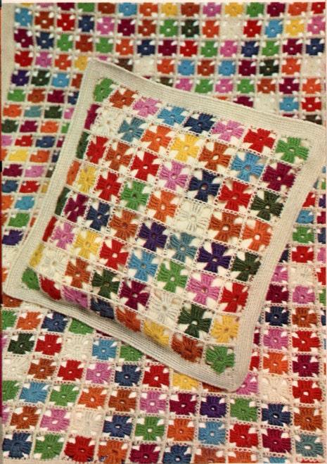 Crochet Pattern PDF Retro Afghan Pillow Blanket Set Multicolored Pinwheel Vintage