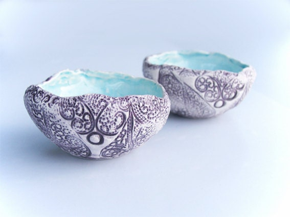 Set of two Ceramic bowls, turquoise, white and aubergine,  candle holder, ring holder, home decor - azulado