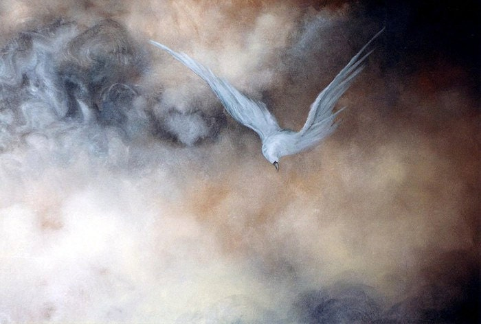 Bird, Skyscape Art Print, Signed, The Messenger, Spiritual Art by Marina Petro - MarinaPetroFineArt