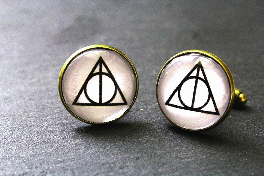 Deathly Hallows Harry Potter Cufflinks Mens gift Valentines Gift Cufflinks Funny gift Harry Potter Gifts Harry Potter Deathly Hallows.
