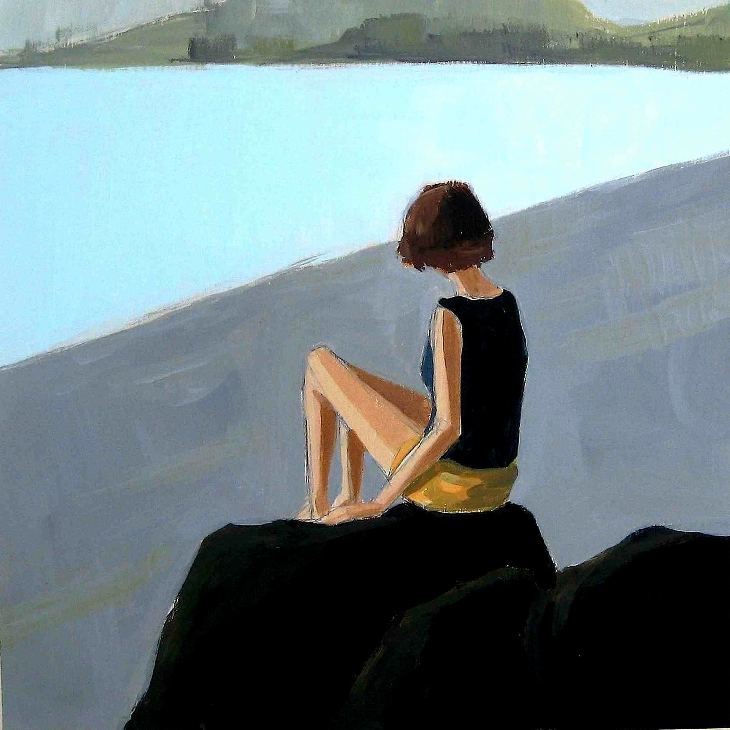 Lava Rocks . giclee art print from original painting of woman by the sea - tastesorangey