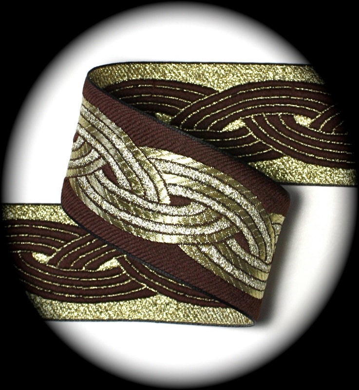 "Ribbon - 2"" x 3 yards Brown and Gold - Superb Quality - Celtic Knot"