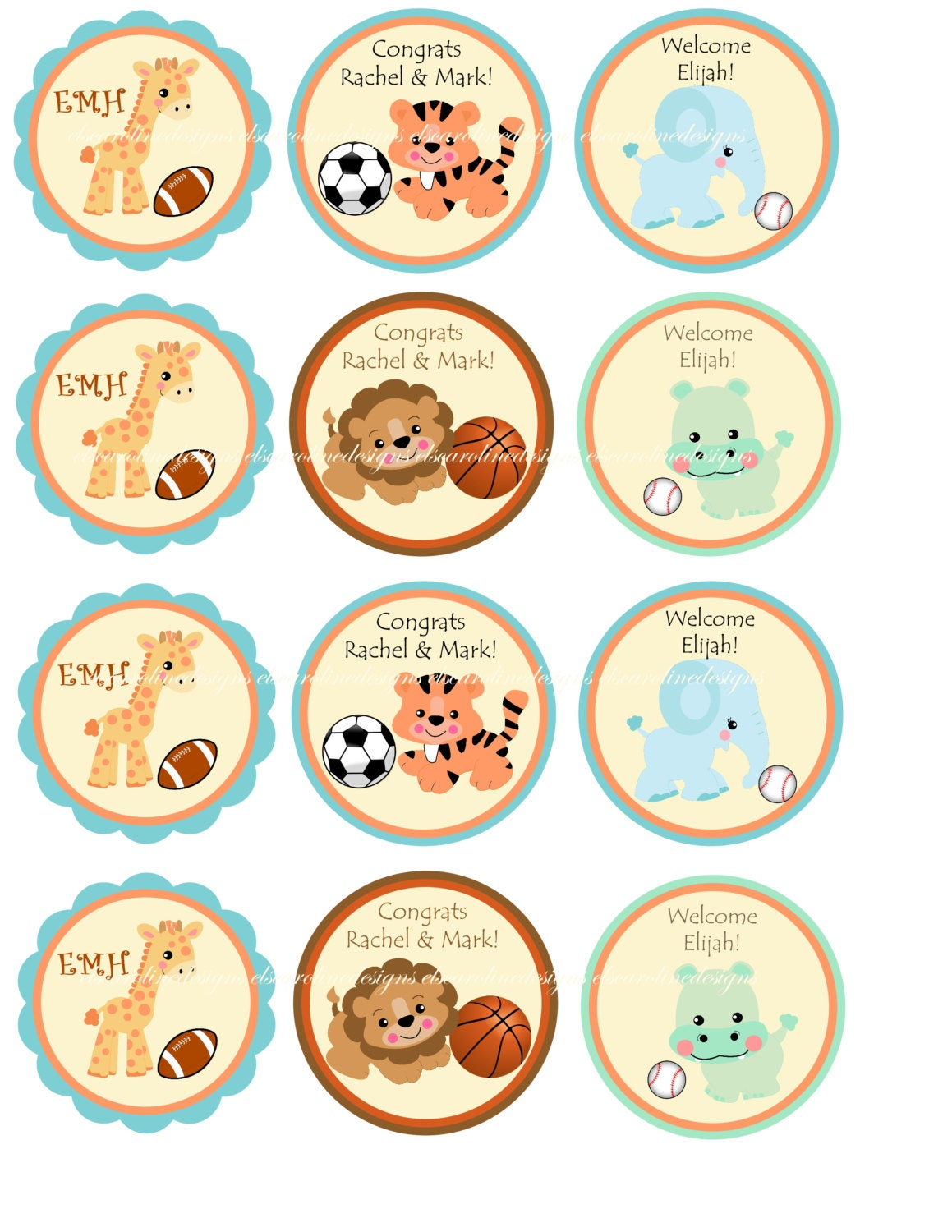 items similar to baby shower cupcake toppers jungle safari zoo animals