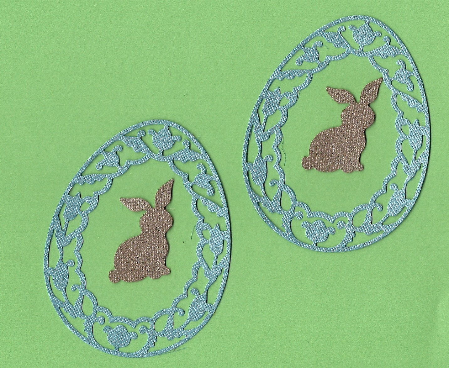 Lot of 2 Cottage Cutz Blue Easter Frames with Chocolate Bunny Die Cuts