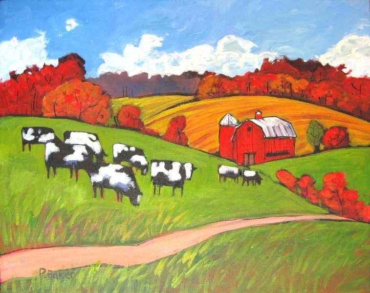 Cows and Autumn Fields  FREE SHIPPING