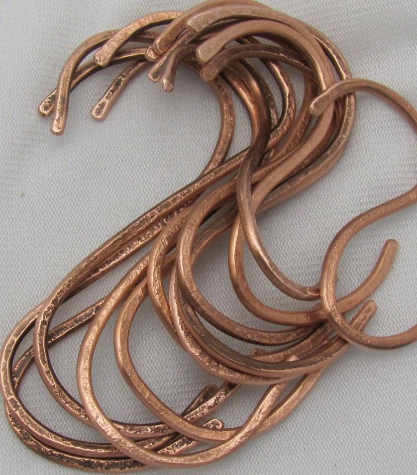 Hand Hammered Copper S Pot Rack Hooks set of 10. by ruddlecottage