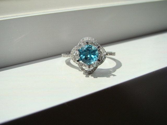 Items similar to Halo Teal Apatite Diamond Ring Aqua Gemstone Engagement Ring
