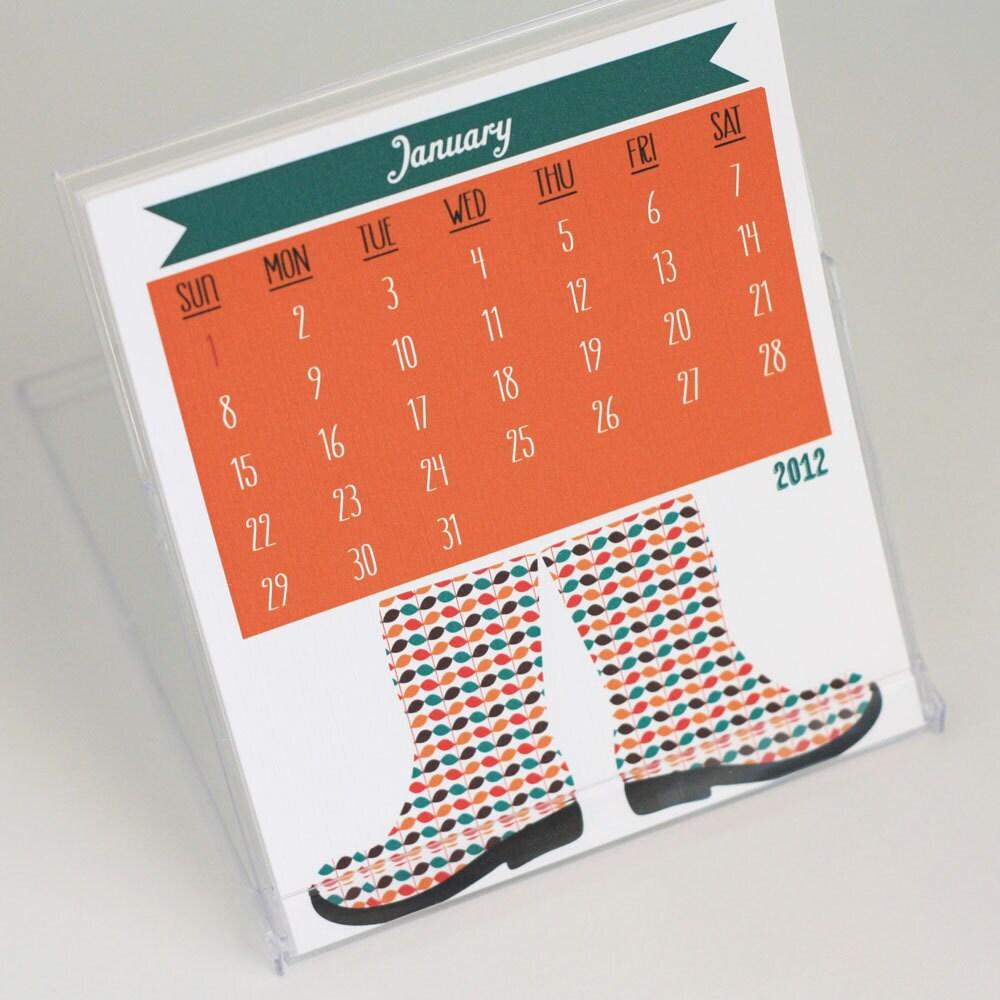 2012 Rain Boot Desktop Calendar