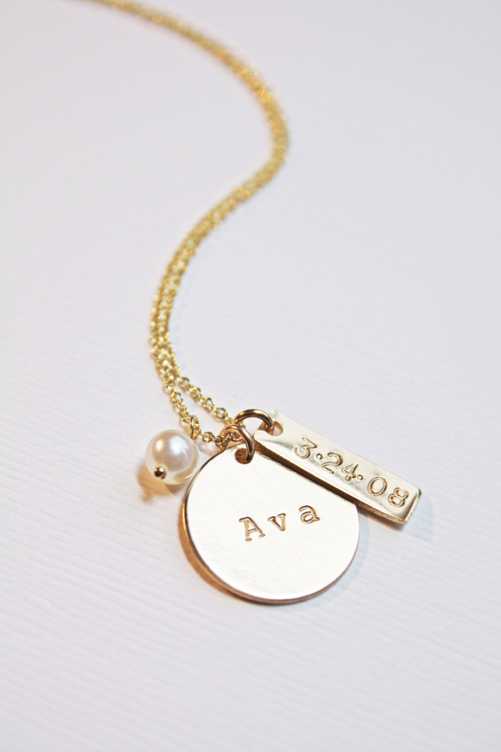 Gold Baby Name Necklace With Pearl And By Piccolacustomjewelry