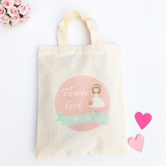 Pink Flower Girl Bag Personalised Pink Flower Girl Gift Pink Flower Girl Favour Bag Pink Name Wedding Bag Flower Girl Keepsake