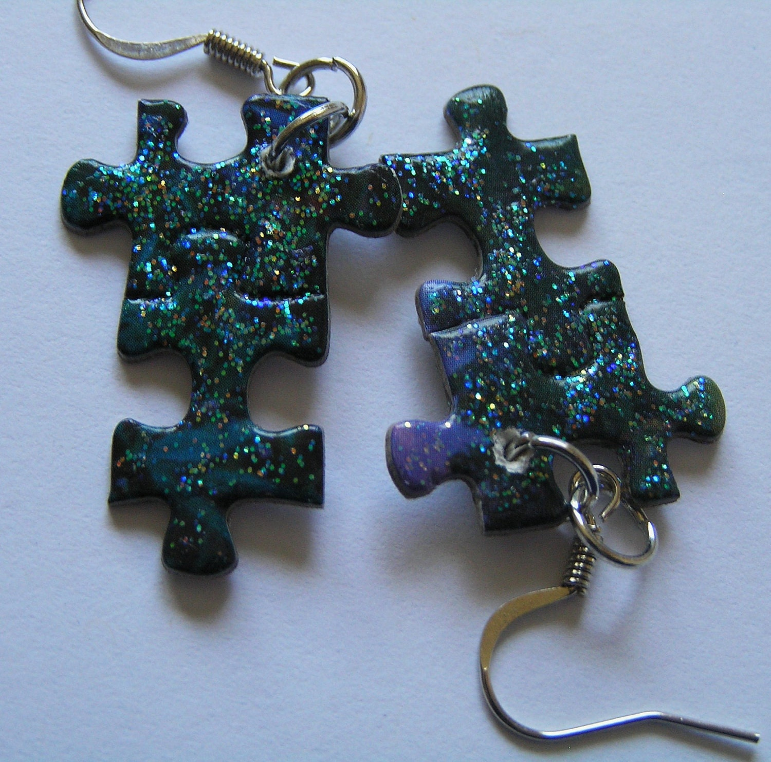 Dark Midnight Blue Puzzle Piece Earrings w Sparkly Finish