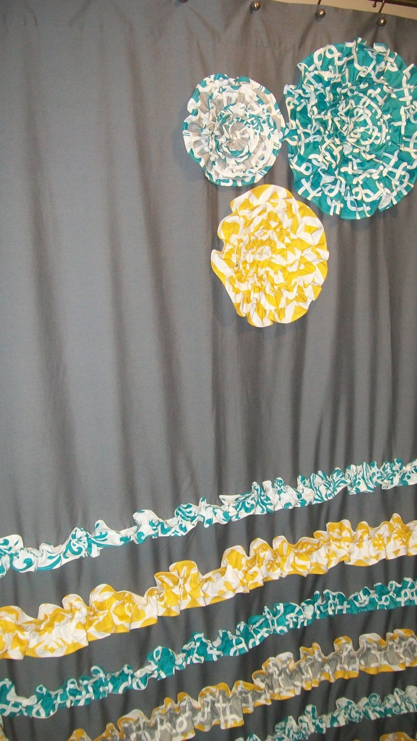 Window panel curtain custom made designer fabric by - Turquoise and yellow curtains ...