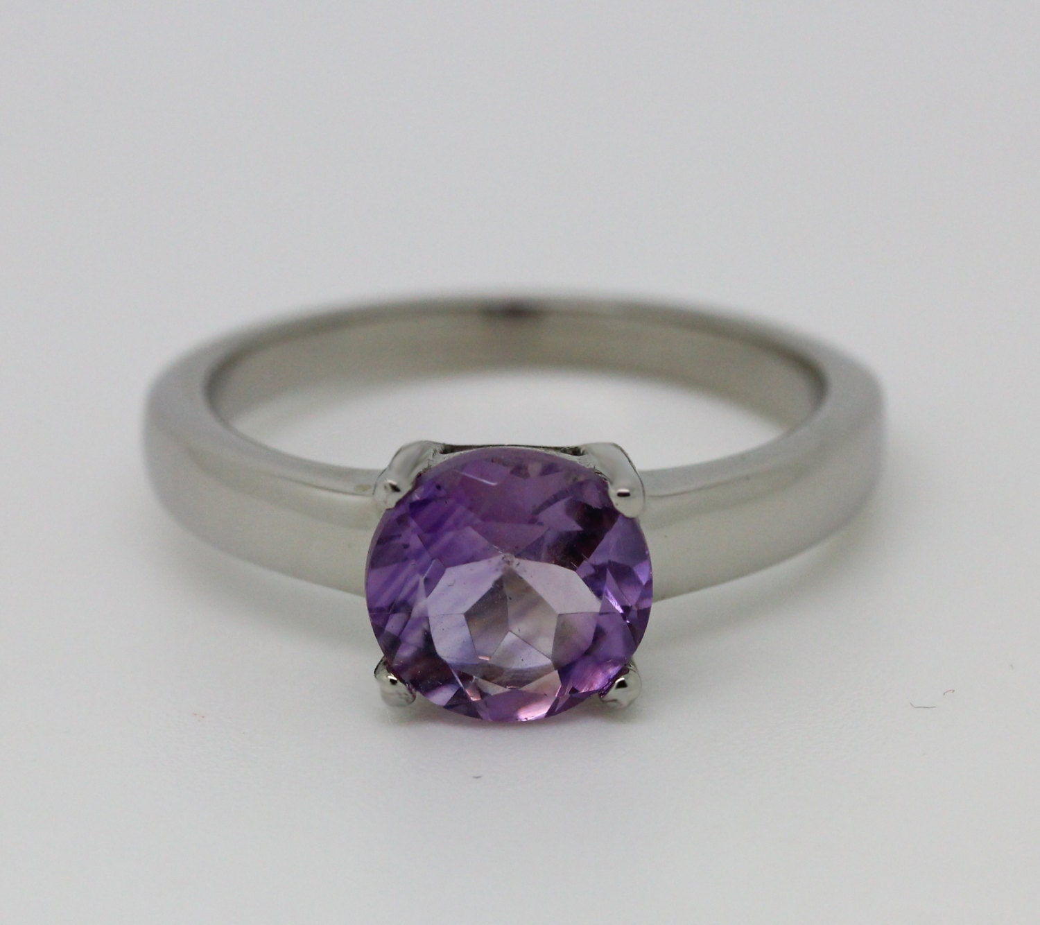 2ct Amethyst Solitaire ring in Titanium or White Gold  engagement ring  wedding ring  handmade ring
