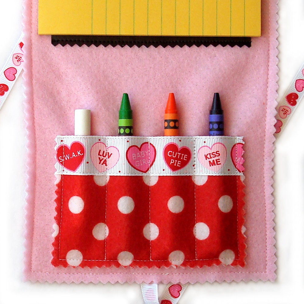 Crayon Wallet & Chalk Mat: Valentine Hearts Fold.n.Go Art Folio - great travel toy - art fun on the go - 20% Off Sale