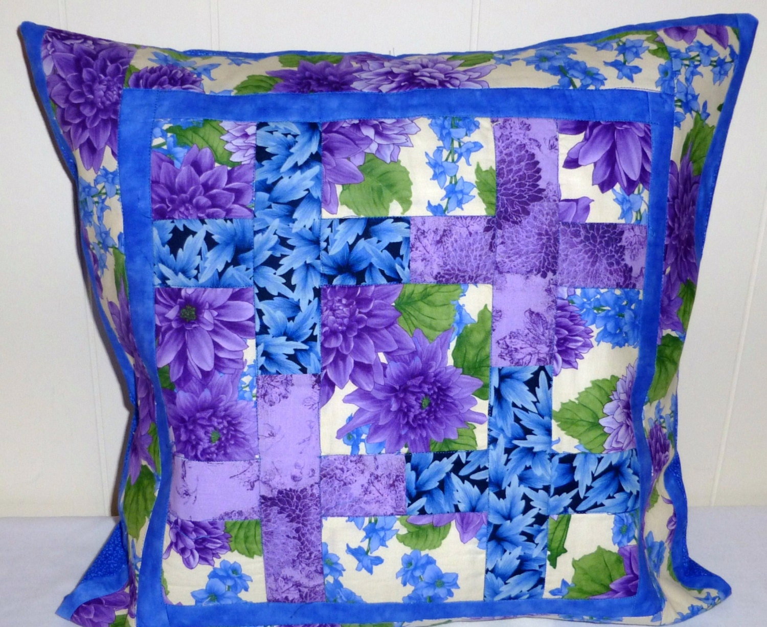 Quilted Pillow Patchwork 18inSquare PurpleFlowers Blue HomeAccent - SuesCreatingCottage