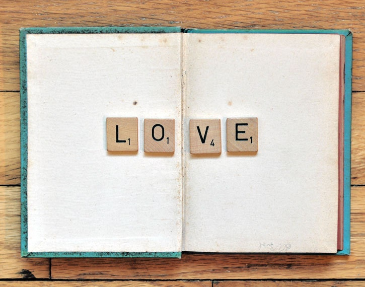 Book Love 5x7 Photograph - scrabble tile vintage book minimal retro vintage style modern print teal brown beige neutral