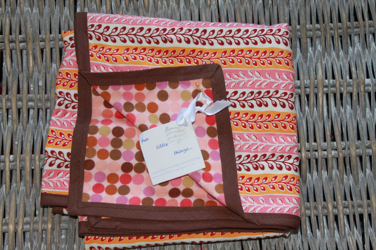 Baby Blanket - Pink Polka Dots and Flowers - funlittlethings