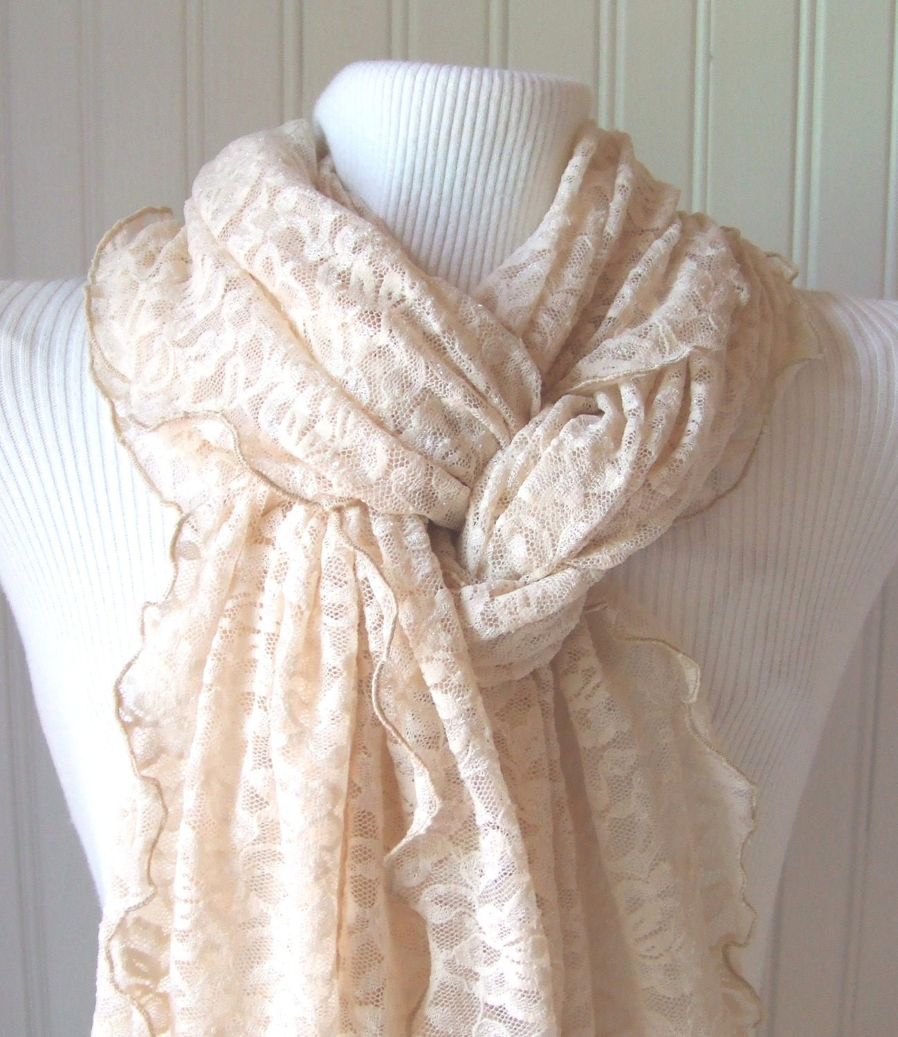 French Vanilla Lace Scarf  with Ruffles