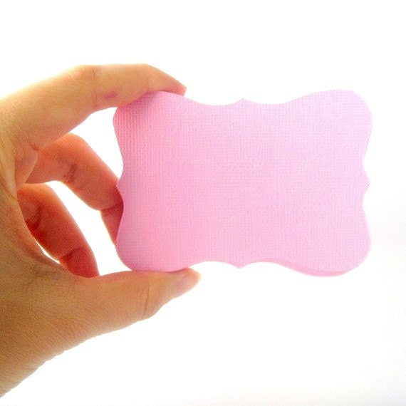 ON SALE 24 Bracket cards in Pink Cardstock (3.5 x 2.5 inches) die cuts A94