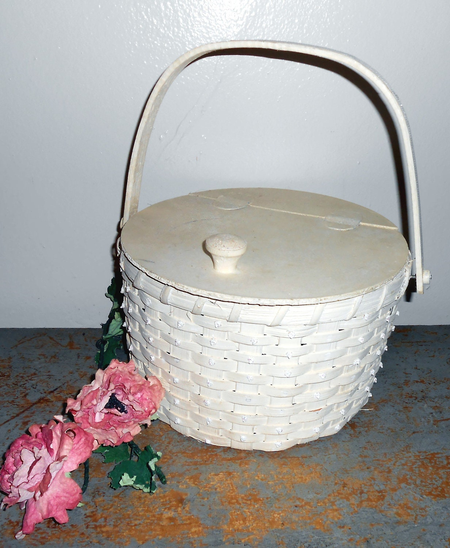 Knitting Basket With Handles : Vintage basket wicker white handle lid sewing by thebackshak