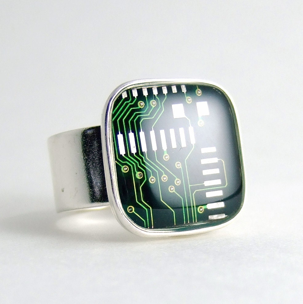 green circuit board geek ring for men