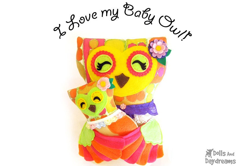 Owl Sewing Pattern PDF Pillow Softie Stuffed Toy Mommy Baby Set of 2 Kawaii Retro Styles - DollsAndDaydreams