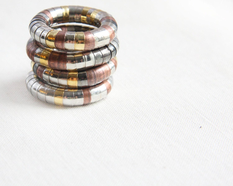 Stacking Rings - Steampunk Dragon Ring - Industrial Modern Design - Trendy Cool Beaded Ring - Flexible Mixed Metal Ring - Snake Lizard Ring - KapKaDesign
