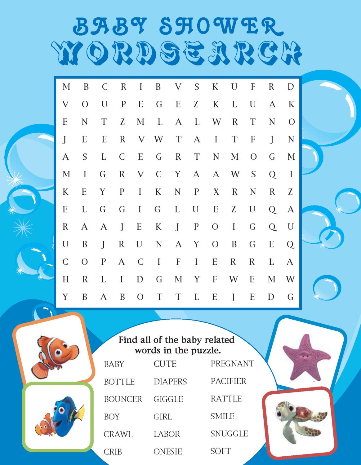 Printable Finding Nemo themed Baby Shower Word Search by ...