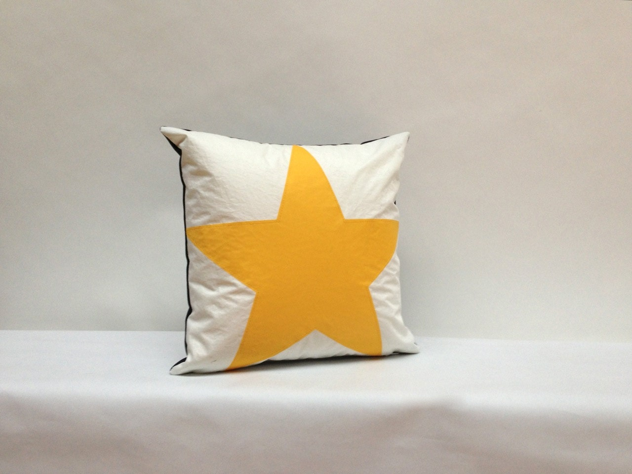 Items similar to Recycled Sail Throw Pillows - Yellow Star on Etsy