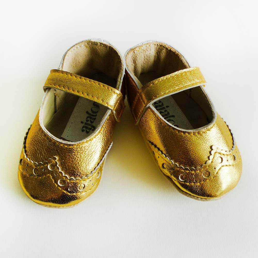 Gold baby girl brogued leather dress crib shoes- Because every baby