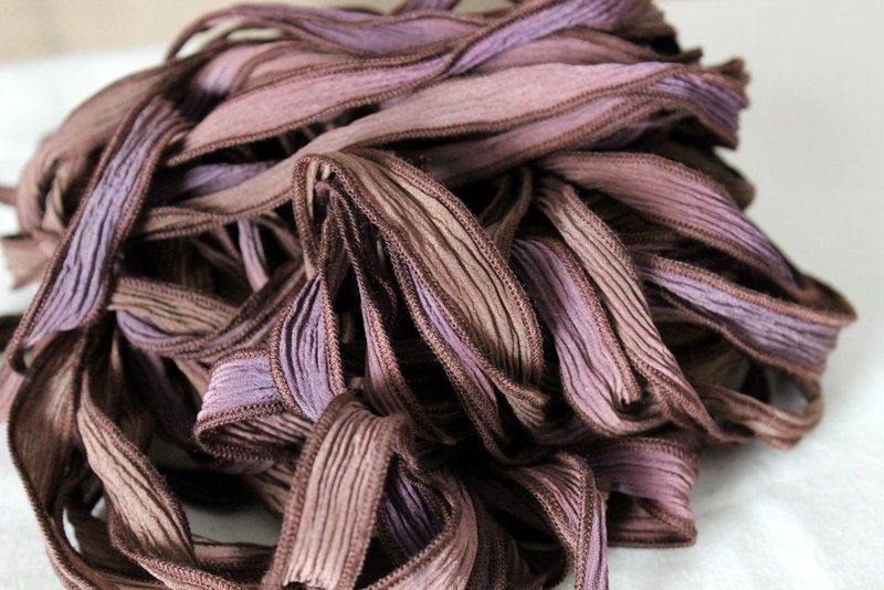 Hand Dyed Silk Ribbon, Purple, Brown, Coffee, Lavender, Fairy Ribbon, Jewelry Making Supplies - SuppliedByHFG