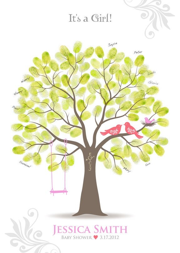baby shower thumbprint tree guest book poster with ink pad nursery