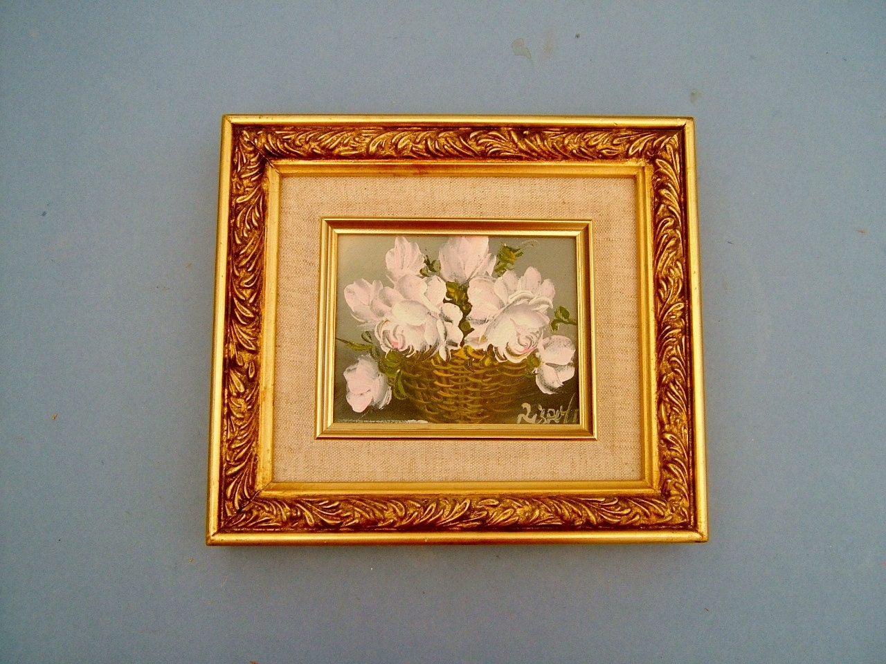 1950s Painting of a Vase Basket of White Flowers Original Art Still Life