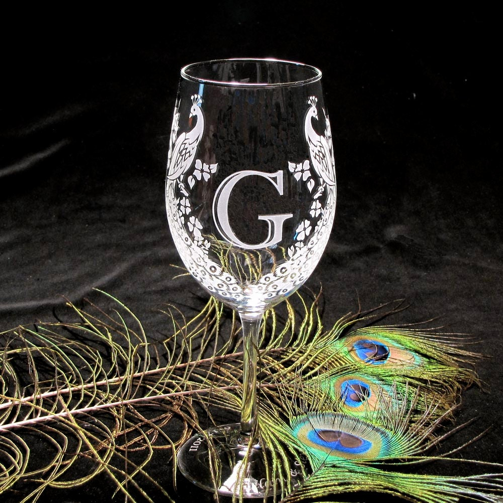 ... to 2 Wedding Wine Glasses, Peacock Monogram, Etched Glass on Etsy